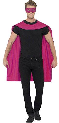 erdbeerloft - Herren Superhero Umhang mit Maske Kostüm Karneval , Pink, Größe One Size