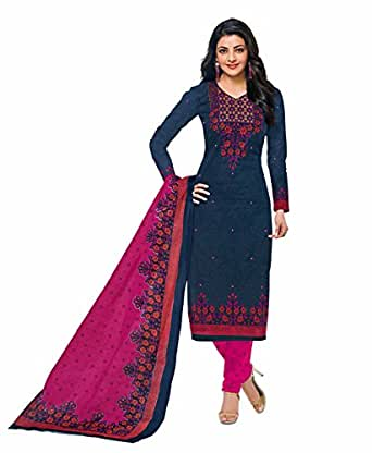 Miraan Women's Cotton Printed Unstitched Churidar Suit Dress Material(SGPRI601_Blue_Free Size)