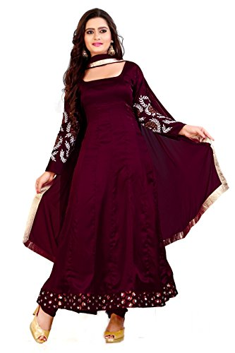 Maroon japan Satin Designer Anarkali Suit