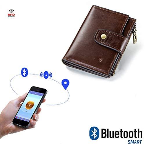 Billetero Trenzado de los Hombres RFID Doble Cremallera Monedero Bluetooth Elegante Posicionamiento Anti-pérdida Monedero antirrobo Moda Monedero Informal Monedero Clip de Dinero