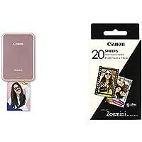 Canon - Pack Zoemini Imprimante Photo Portable Rose + Pack de 20 Feuilles Papier Photo