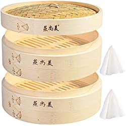 Hcooker 2 Couches Cuisine Panier à Vapeur en Bambou pour la Cuisson Asiatique Brioches Boulettes Légumes Poisson Riz