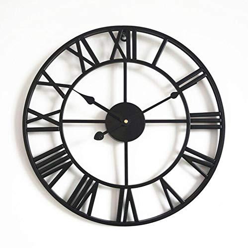 XIESENYU Relojes de Pared,Reloj Retro Redondo Colgante De Hierro, Decoración De La Sala Reloj Romano, Reloj De Pared Silencioso Sin Tictac, Negro, 80 Cm