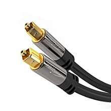 KabelDirekt 1m Optical Digital Audio Cable/TOSLINK Cable (TOSLINK to TOSLINK, fibre optic cable, for Home Theater, PS4, XBOX) PRO Series