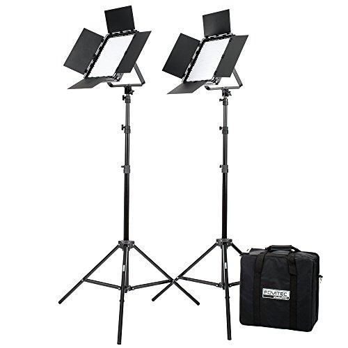 -600BN dimmbar 600 hellen LED-Fotografie kontinuierliches Bi-Color-Leuchtpaneel & Lichtstativ-Set mit Tragekoffer & Torblende - Foto, Video & Film Produktion Studio Zubehör ()
