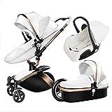 Kinderwagen Kinderwagen , Kinderwagen 3-in-1-Reisesystem Mit 360-Rotationsfunktion faltbar und mit leichtem Rahmen verstellbar, Weiß