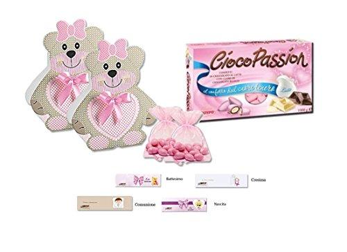 Kit scatoline porta confetti orsetto 40 pz orsetta bomboniere segnaposto bambini (set rosa 14959)