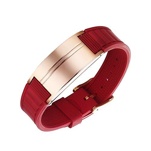 Moocare Power Energy Hologramm-Armbänder Manschetten Gleichgewicht Iongesundheits Magnet therapie Rot Silikon Sports Bänder -