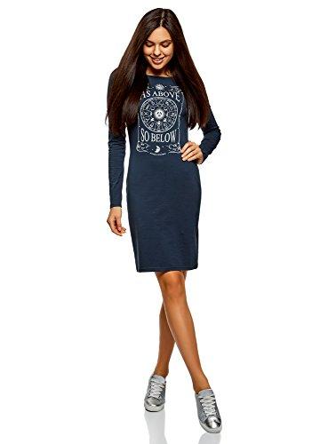oodji Ultra Femme Robe Moulante avec Imprimé, Bleu, FR 42 / L