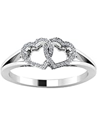 Novel Jewels 92.5 Sterling Silver Heart Shape White Diamond Wedding Ring For Women
