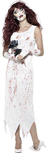 Smiffy's 45522L - Damen Zombie Braut Kostüm, Kleid, Handschuhe und Schleier, Größe: 44-46, (Kostüm Damen Ideen Halloween)