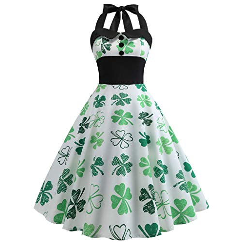 d06c2cc31 Auied Women's St. Patrick's Day Hanging Neck Sleeveless Four-Leaf Clover  Print Big Swing