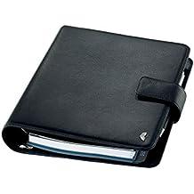 Chronoplan 50101 Organizer Rindnappaleder (Terminplaner A5 mit Lasche, Ringbuch) schwarz