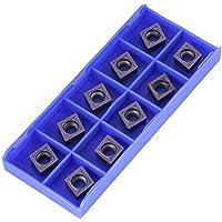 Insertos de torneado de carburo, 10 piezas de insertos de puntas de carburo CNC Herramienta de torneado de torno de cuchilla con caja CCMT09T304 VP15TF, 0,55 x 0,35 x 0,16 pulgadas, insertos de torno