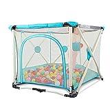 Laufgitter & -ställe Playpens Baby mit 200 Bällen, faltender Indoor Outdoor Stable Kinder Kleinkind Hochleistungszaun (Farbe : Blau)