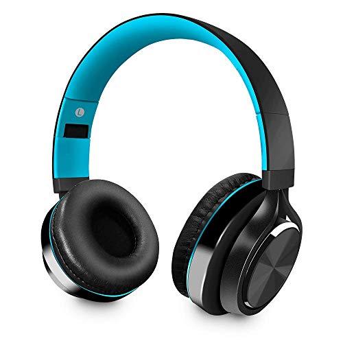Cuffie Bluetooth senza fili, Wireless Over Ear Cuffie Portatili Pieghevole Sport Cuffia con microfono Cancellazione del Rumore per iPhone,Samsung,Huawei,Smartphone,PC (Nero&blu)
