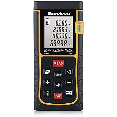 Excelvan E2 - Medidor Láser de Distancia (0 - 70m, 229', M FT IN, Distancia, Área, Volumen, Alta y Rápida Precisión, Medición