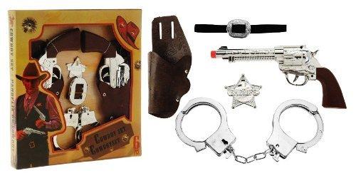 Gewehr-gürtel Western (Cowboy-Kostüm XXL Set Western Halfter mit 2 Revolvern + Gürtel + Stern + Handschellen Spielzeug-Pistole Kinder-Verkleidung)