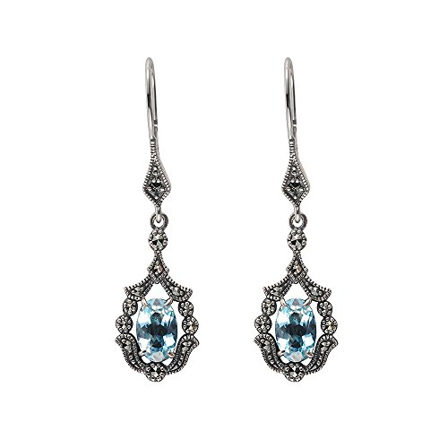 Esse Ring Markasit Sterling Silber Vintage Jugendstil blau Topas und Markasit