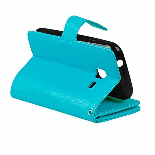 Flip Samsung J1Mini Fall Folio Case Solid Farbe Premium Synthetik-Leder-Kasten-Standplatz-Mappen-Kasten-Kasten mit 9 Karten-Bargeld-Slots für Samsung Galaxy J1Mini ( Color : White , Size : SamsungJ1Mi Blue