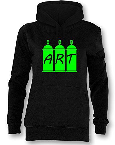 Graffiti ist Kunst - Damen Hoodie Schwarz / Neongrün