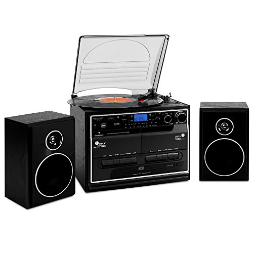 auna 388-BT • Kompaktanlage • Stereoanlage • Plattenspieler • Bluetooth • Radio • CD-/MP3 Player • USB/SD • 2 x Kassettendeck • Digitalisierungsfunktion • Bassreflex • Lautsprecher Paar • schwarz