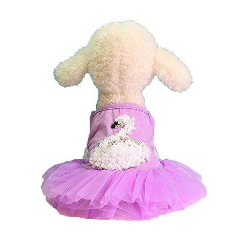 Katzenklo Und Kostüm Katze - TUDUZ Hund Katze Schwan Muster Tutu Kleid Mesh Rock Pet Puppy Hund Prinzessin Kostüm Kleid Kleidung Sommerkleider Haustier Tank Top(X-Large,Lila)