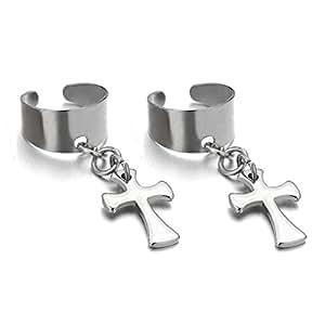 Clip-on Anneau - Boucles d'oreilles Créoles avec la Croix - pour Homme Femme - Acier Inoxydable - 1 paire