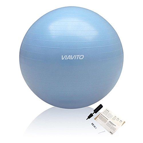 Viavito 200kg Gymball Anti-Pinchazos - Balón De Ejercicios Con Bomba - Azul - 65cm