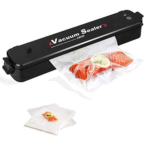 Bycws Vacuum Sealer, Lebensmittel-Vakuumverpackungsmaschine mit Vakuumschlauch Automatisches Vakuum-Dichtungssystem mit 15 Stück Vakuum-Siegelbeutel (Schwarz) (Mahlzeit Vakuumierer)