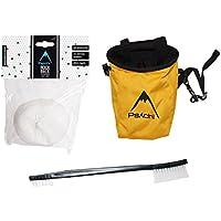 Paquete de inicio de escalada con bolsa de tiza, cepillo y tiza, Gold/Yellow