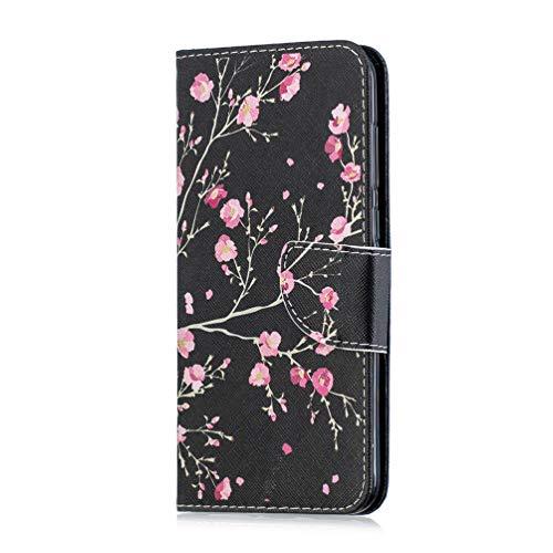 Handyhülle Case für Samsung Galaxy A40 Hülle 3D Malen Muster PU Leder Tasche Flipcase Cover Schutzhülle Handytasche Ledertasche Holster Skin Ständer Klapphülle Schale Bumper Rosenblüten