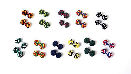 KRAWATTENDACKEL Set 11 Paar Manschettenknöpfe Seidenknoten Stoff Knoten Silk Knot Cufflinks