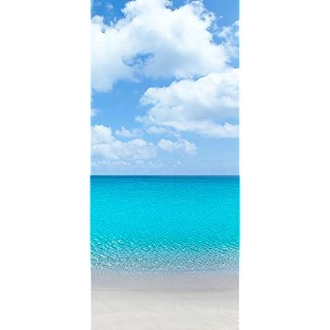Posterdepot Papel pintado para puerta puerta Póster playa de arena y mar azul–tamaño 93x 205cm, 1pieza, ktt0492