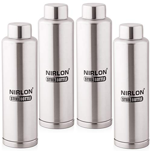 Nirlon Stainless Steel Water Bottle Set, 4-Pieces, Silver (4_FB_48844)
