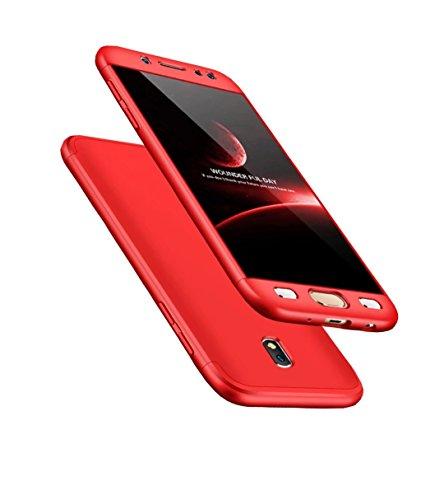 Funda Samsung J7 2017/Pro 360 ° Protección Matte Ultra Slim Cubierta PC Hard Case Protección del cuerpo Scratchproof Cubierta 360 ° Cubierta completa 3 en 1 rojo