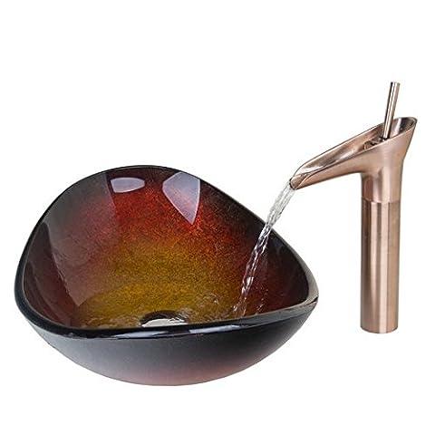 Gowe Colorful Design lingot ovale Évier Récipient en verre trempé