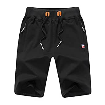 JustSun Mens Shorts Classic Casual Athletic Flat Front Sports Shorts with Elastic Waist Zipper Pockets STICKON (Black, Large)