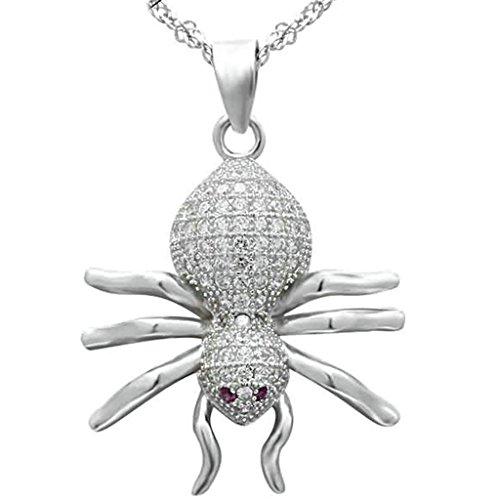 BeyDoDo Modeschmuck 925 Sterling Silber Damen Halskette Anhänger Klar Zirkonia Spinne Weiß (Kostüm Regenbogen Affe)