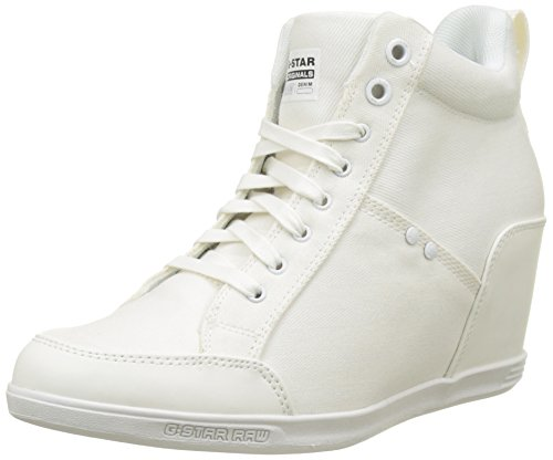 G-STAR RAW New Labour Wedge, Sneakers Hautes Femme Blanc (White 110)