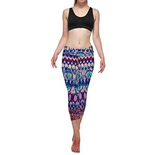 Damen Hosen,Binggong Hohe Taillen Eignung Yoga Sport Hosen Drückten die Ausgedehnte Geerntete Gamaschen Verkürzte Hosenleggings Mehrfarbig Fitness Hosen (L, Mehrfarbig B)