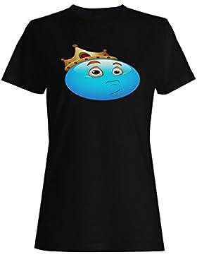 Smiley, rey, reina, corona, cara, novedad, divertido, vintage, arte camiseta de las mujeres a208f