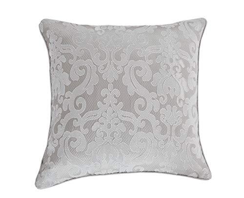 Pimpamtex–confezione da 2cuscini con imbottitura di 55x 55cm, cuscini tipo quadrante di decorazione per la casa, salotto, camera da letto, sedie, divano e letto, modello jacquard damasco 55_x_55_cm grigio perla