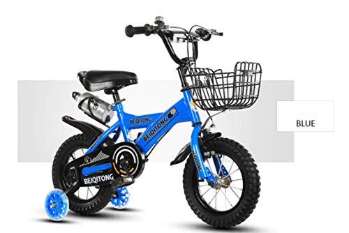 Bicicleta NiñOs Azul, Bicicleta con Marco Acero Intermitente Ruedas Entrenamiento Pedal CestaCampana...