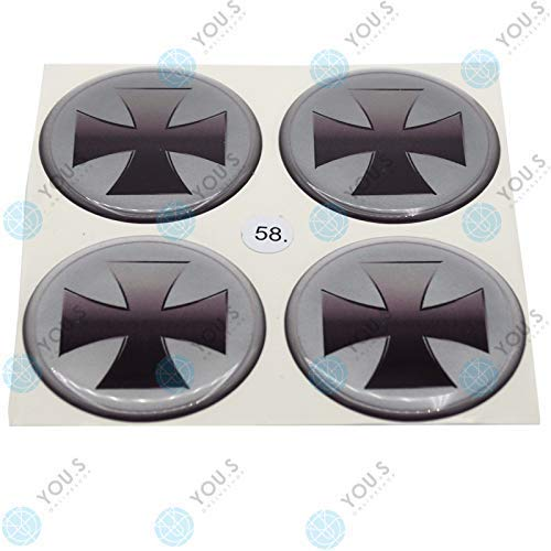 4x YOU.S Cache-Moyeux Autocollants Silicone 58,0 mm - Argent Noir Croix de Fer Auto-Adhésif