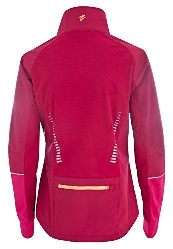 Twentyfour Zero Veste d'entraînement Femme - Veste d'entraînement hydrofuge avec dos allongé cerise