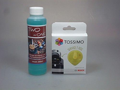 Pflegeset für Tassimo Kapselmaschinen - 250ml JUMA Two in One - Reiniger und Bosch T-Disc /...