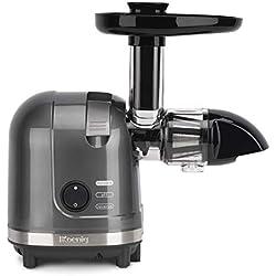 H.Koenig HSX16 Extracteur de jus horizontal 1,1 L Jus de Fruits et Légumes Vitamin+ - rotation lente - sans BPA - silencieux - fonction Reverse- 150 W