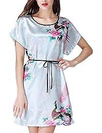 06a813f03a Vestido De Noche Pijamas De Mujer Kimono Cuello Redondo Clásico Estilo Sueño  Chino Vestido Elegante Bata
