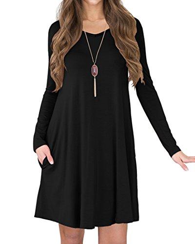 LILBETTER Frauen Langarm-Taschen-beiläufige lose T-Shirt-Kleid (Schwarz L) (T-shirt Lange Ärmel Kurze)
